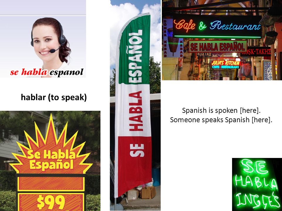 hablar (to speak) Spanish is spoken [here].